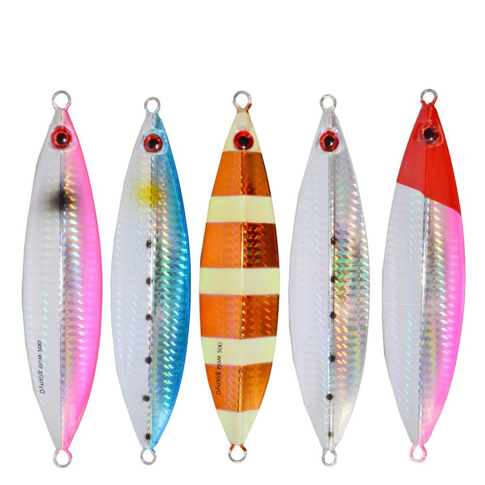 Fishing Trends Online Tackle Shop:Lure 1pcs ILURE Metal Jig Lure 20g30g/40g/60g/80g/100g Slow Jigging Lead Luminous