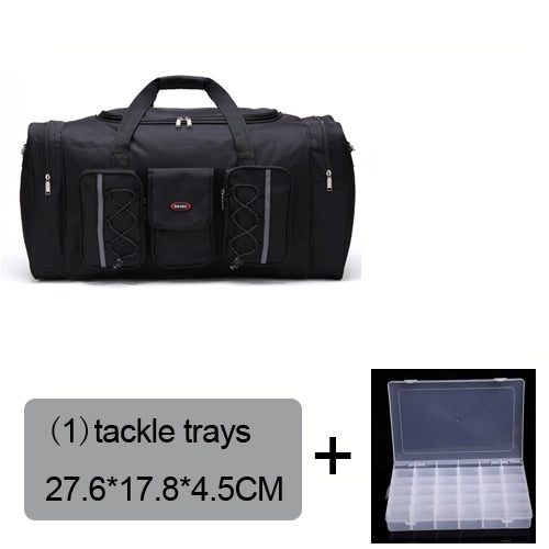 Fishing Trends Online Tackle Shop:Bag 70L Multi-functional Reel Bag Outdoor Fishing Tackle Bag Lure Trays Boxes 65*30*35 cm,black bag 1 trays
