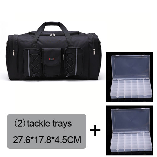 Fishing Trends Online Tackle Shop:Bag 70L Multi-functional Reel Bag Outdoor Fishing Tackle Bag Lure Trays Boxes 65*30*35 cm,black bag 2 trays