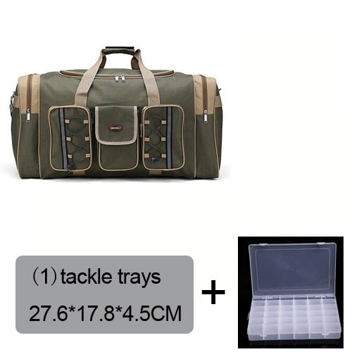 Fishing Trends Online Tackle Shop:Bag 70L Multi-functional Reel Bag Outdoor Fishing Tackle Bag Lure Trays Boxes 65*30*35 cm,Arm green 1 trays