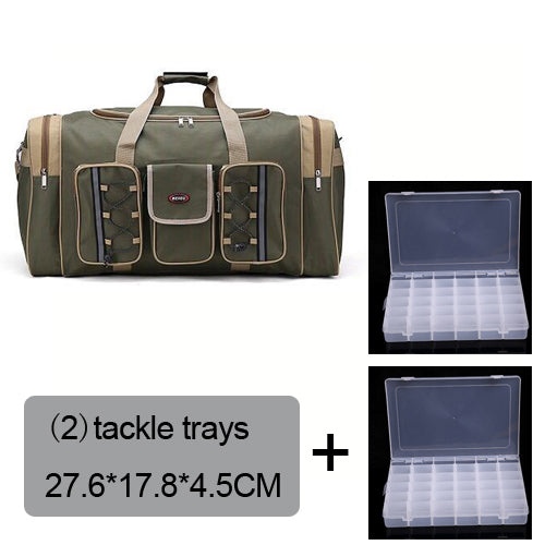 Fishing Trends Online Tackle Shop:Bag 70L Multi-functional Reel Bag Outdoor Fishing Tackle Bag Lure Trays Boxes 65*30*35 cm,Arm green 2 trays