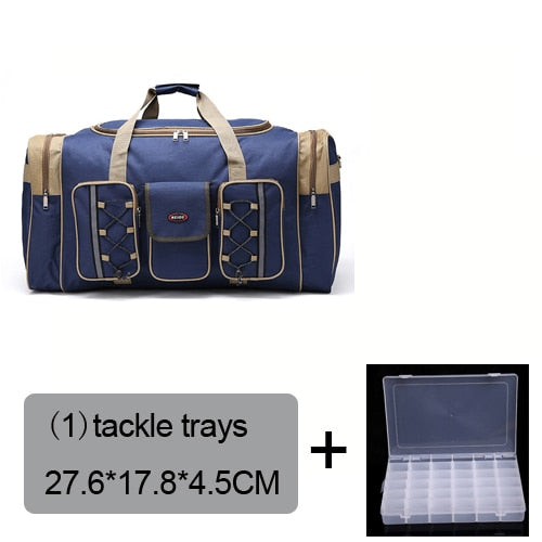 Fishing Trends Online Tackle Shop:Bag 70L Multi-functional Reel Bag Outdoor Fishing Tackle Bag Lure Trays Boxes 65*30*35 cm,blue bag 1 trays