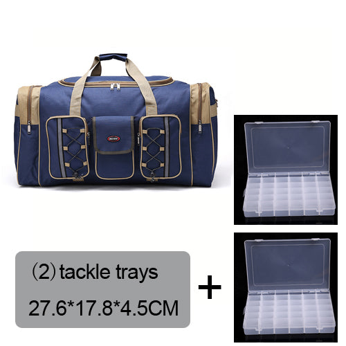 Fishing Trends Online Tackle Shop:Bag 70L Multi-functional Reel Bag Outdoor Fishing Tackle Bag Lure Trays Boxes 65*30*35 cm,blue bag 2 trays