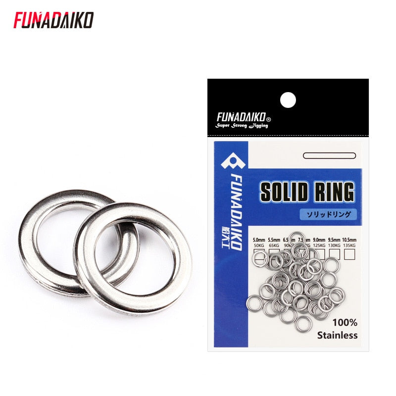 Fishing Trends Online Tackle Shop:Connector FUNADAIKO Stainless steel Solid Ring O Rings pck 20