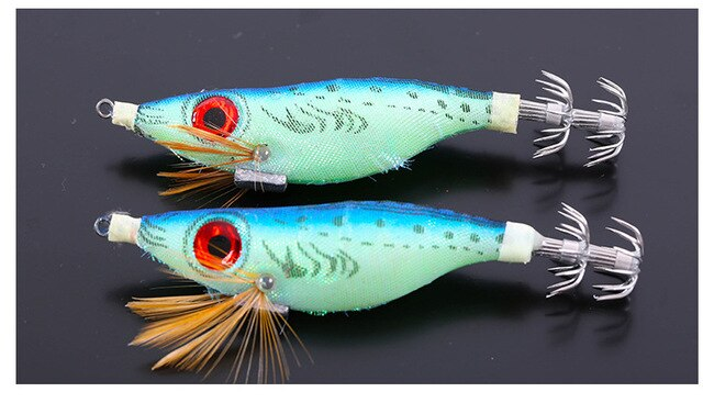 Fishing Trends Online Tackle Shop:Lure EGI Four Colors Cloth Wood Shrimp Luminous squid hooks for squid jigs,color A