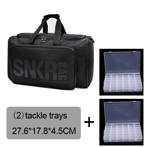 Fishing Trends Online Tackle Shop:Bag Large Fishing Reel Bag Waterproof Tackle Bag Outdoor Travel Bag XL,bag 2 tackle trays / 40L