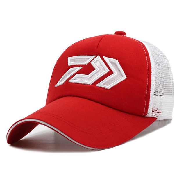 Fishing Trends Online Tackle Shop:Hat DAIWA Breathable Mesh Sunshade Baseball Cap Adjustable,Red / 55-60cm