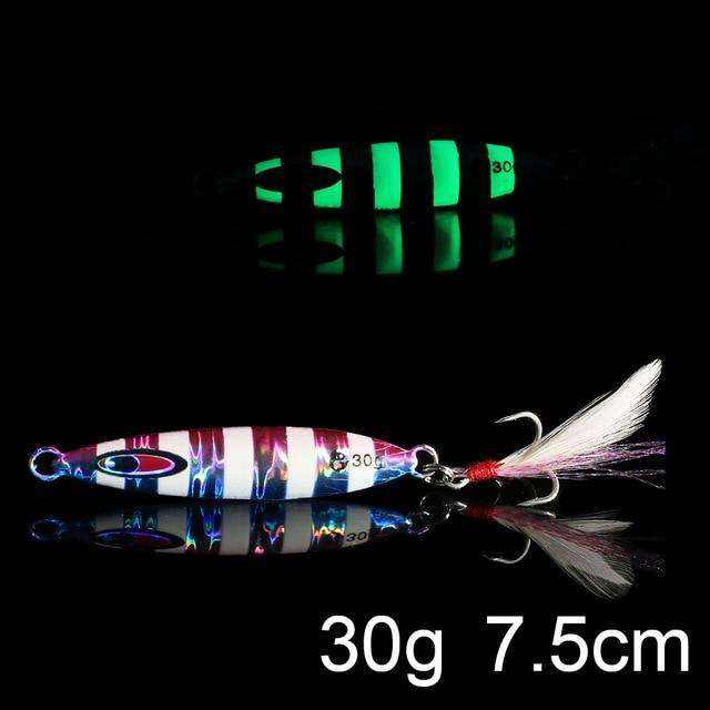 Fishing Trends Online Tackle Shop:QXO Luminous Hard Lure Goods For Fishing Jig Metal Squid Wobbler Minnow Winter Sea Ice Fishing Lead Micro Duck Spinner bait,M-30g