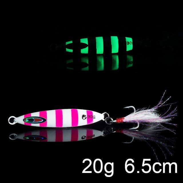 Fishing Trends Online Tackle Shop:QXO Luminous Hard Lure Goods For Fishing Jig Metal Squid Wobbler Minnow Winter Sea Ice Fishing Lead Micro Duck Spinner bait,N-20g