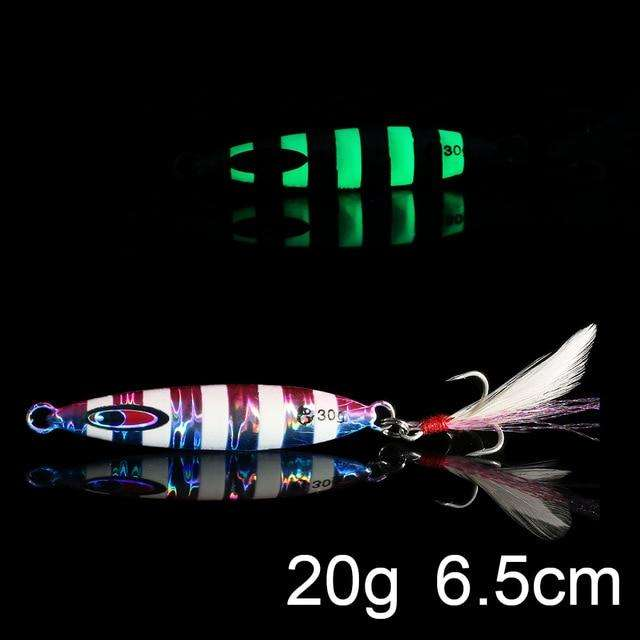 Fishing Trends Online Tackle Shop:QXO Luminous Hard Lure Goods For Fishing Jig Metal Squid Wobbler Minnow Winter Sea Ice Fishing Lead Micro Duck Spinner bait,M-20g