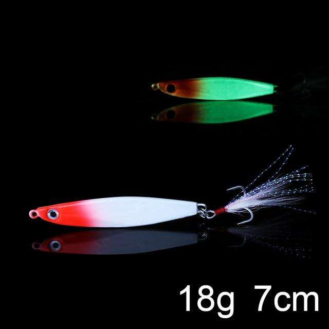 Fishing Trends Online Tackle Shop:QXO Luminous Hard Lure Goods For Fishing Jig Metal Squid Wobbler Minnow Winter Sea Ice Fishing Lead Micro Duck Spinner bait,G-18g