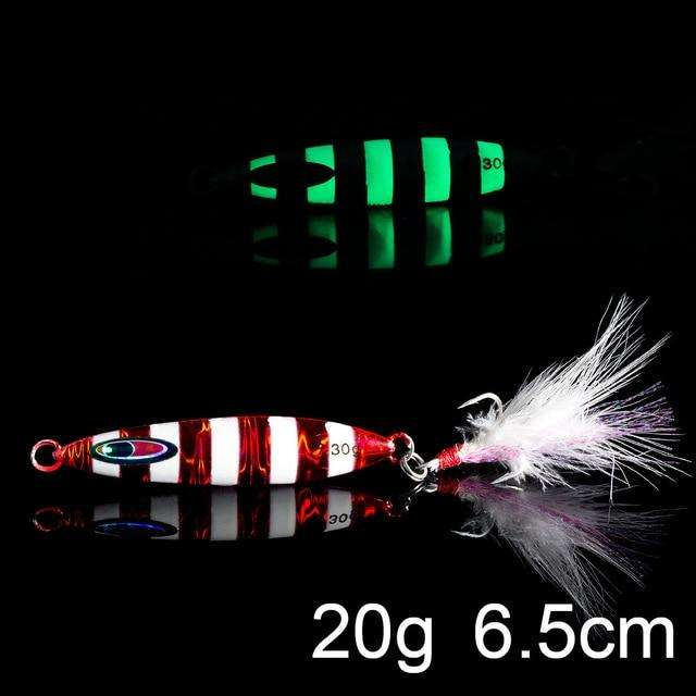 Fishing Trends Online Tackle Shop:QXO Luminous Hard Lure Goods For Fishing Jig Metal Squid Wobbler Minnow Winter Sea Ice Fishing Lead Micro Duck Spinner bait,H-20g