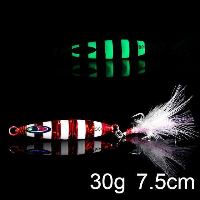 Fishing Trends Online Tackle Shop:QXO Luminous Hard Lure Goods For Fishing Jig Metal Squid Wobbler Minnow Winter Sea Ice Fishing Lead Micro Duck Spinner bait,H-30g