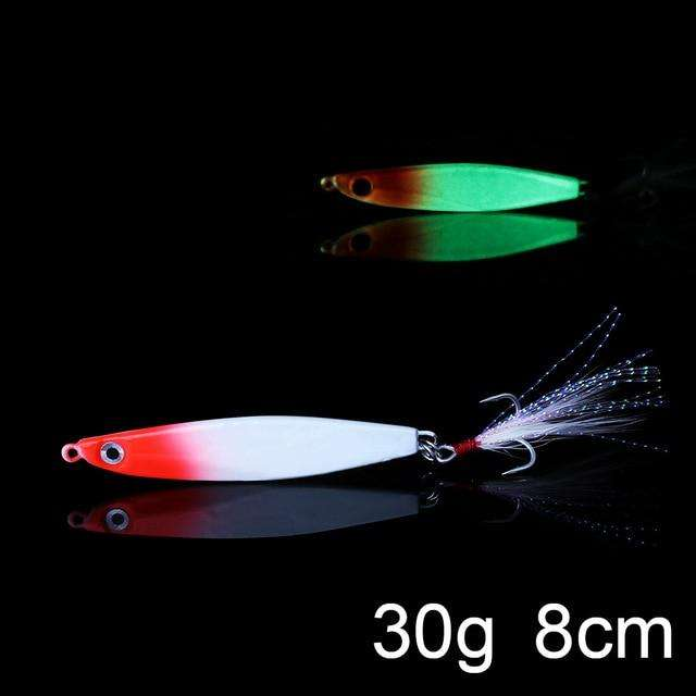 Fishing Trends Online Tackle Shop:QXO Luminous Hard Lure Goods For Fishing Jig Metal Squid Wobbler Minnow Winter Sea Ice Fishing Lead Micro Duck Spinner bait,G-30g
