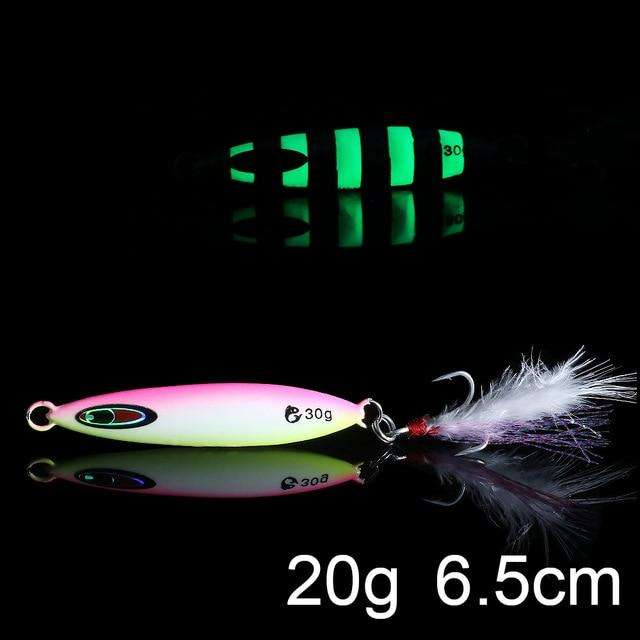 Fishing Trends Online Tackle Shop:QXO Luminous Hard Lure Goods For Fishing Jig Metal Squid Wobbler Minnow Winter Sea Ice Fishing Lead Micro Duck Spinner bait,L-20g