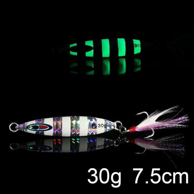 Fishing Trends Online Tackle Shop:QXO Luminous Hard Lure Goods For Fishing Jig Metal Squid Wobbler Minnow Winter Sea Ice Fishing Lead Micro Duck Spinner bait,J-30g