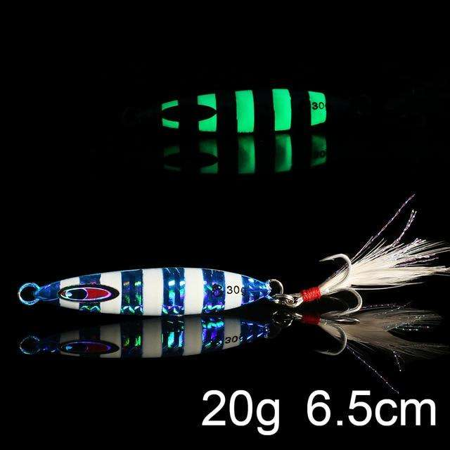 Fishing Trends Online Tackle Shop:QXO Luminous Hard Lure Goods For Fishing Jig Metal Squid Wobbler Minnow Winter Sea Ice Fishing Lead Micro Duck Spinner bait,I-20g