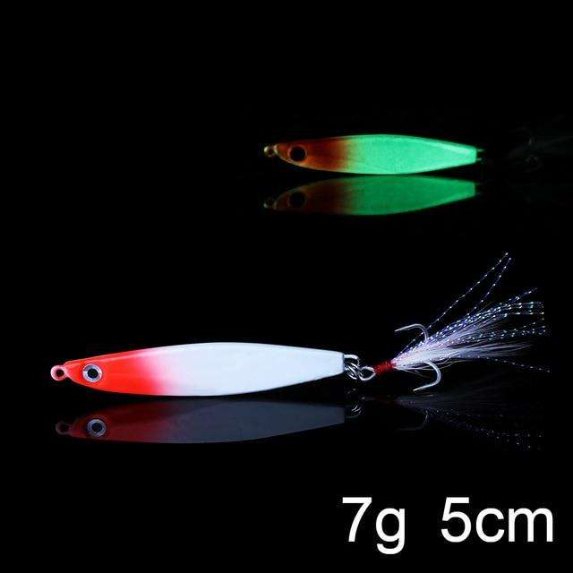 Fishing Trends Online Tackle Shop:QXO Luminous Hard Lure Goods For Fishing Jig Metal Squid Wobbler Minnow Winter Sea Ice Fishing Lead Micro Duck Spinner bait,G-7g