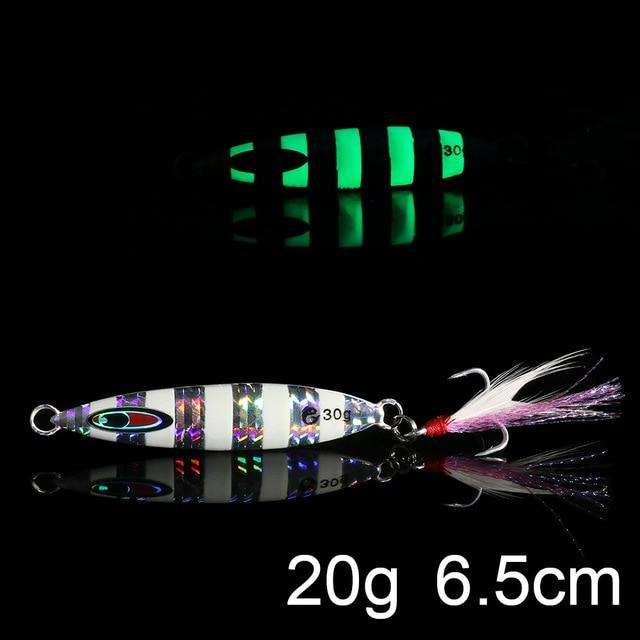 Fishing Trends Online Tackle Shop:QXO Luminous Hard Lure Goods For Fishing Jig Metal Squid Wobbler Minnow Winter Sea Ice Fishing Lead Micro Duck Spinner bait,J-20g