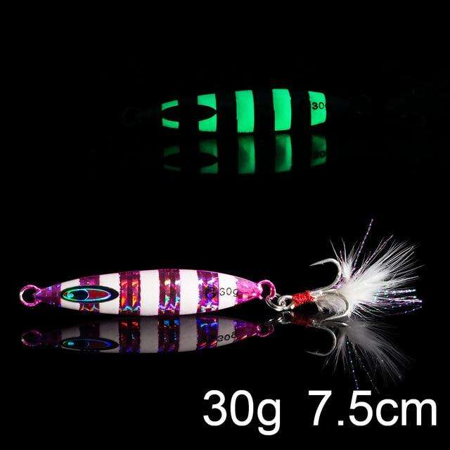 Fishing Trends Online Tackle Shop:QXO Luminous Hard Lure Goods For Fishing Jig Metal Squid Wobbler Minnow Winter Sea Ice Fishing Lead Micro Duck Spinner bait,K-30g
