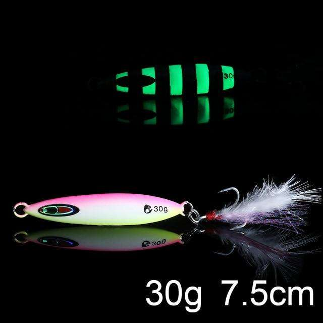 Fishing Trends Online Tackle Shop:QXO Luminous Hard Lure Goods For Fishing Jig Metal Squid Wobbler Minnow Winter Sea Ice Fishing Lead Micro Duck Spinner bait,L-30g