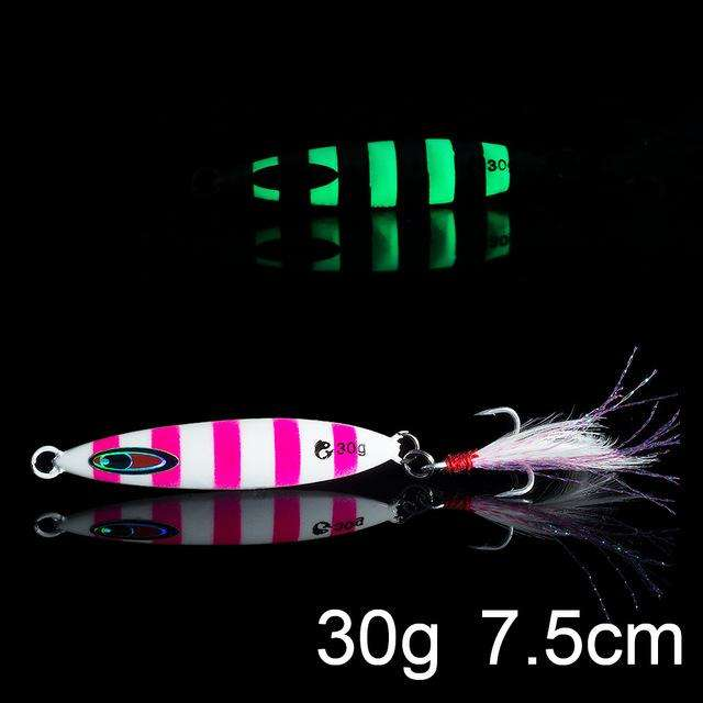 Fishing Trends Online Tackle Shop:QXO Luminous Hard Lure Goods For Fishing Jig Metal Squid Wobbler Minnow Winter Sea Ice Fishing Lead Micro Duck Spinner bait,N-30g