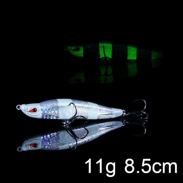 Fishing Trends Online Tackle Shop:QXO Luminous Hard Lure Goods For Fishing Jig Metal Squid Wobbler Minnow Winter Sea Ice Fishing Lead Micro Duck Spinner bait,E