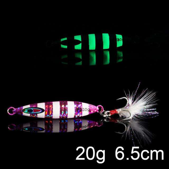 Fishing Trends Online Tackle Shop:QXO Luminous Hard Lure Goods For Fishing Jig Metal Squid Wobbler Minnow Winter Sea Ice Fishing Lead Micro Duck Spinner bait,K-20g