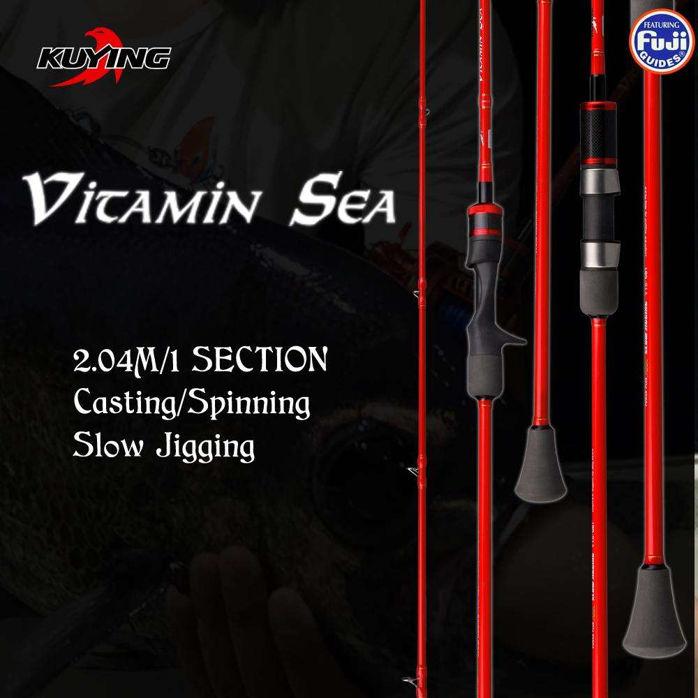 Rod Kuying Vitamin Sea 1 Section 2.04M Carbon Spin/cast Slow Jigging Fuji Rotate Helical Rings