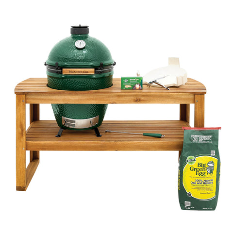 Big Green Egg in Acacia Hardwood Table