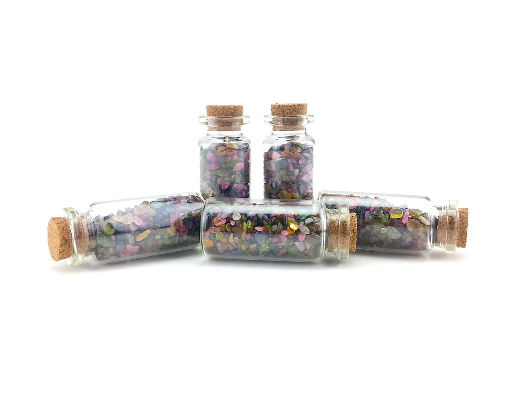 Multi Color Tourmaline Crystals In Glass Bottle