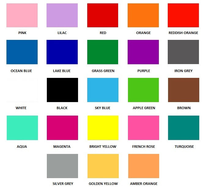 Material Colour Chart Anik Laser Designs