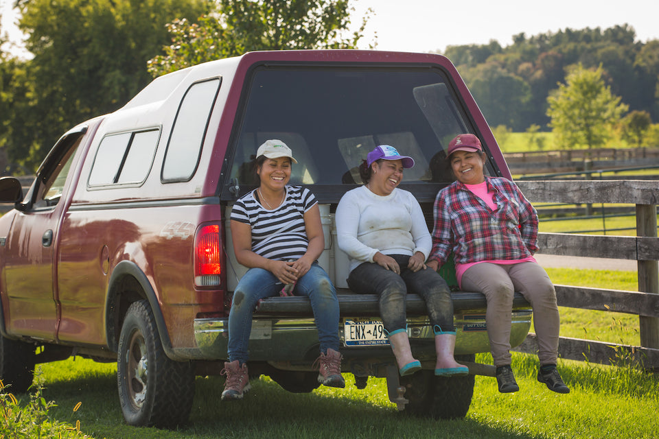 Farm Women on Back of Truck