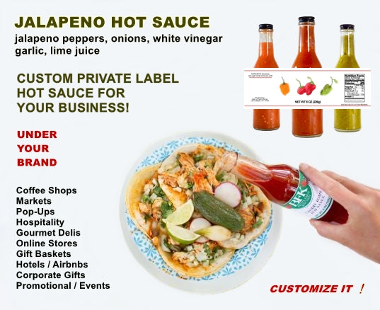 Private label bottle of jalapeno hot sauce by Beth's Farm Kitchen