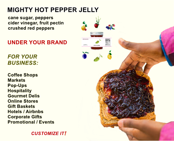 Private label jar of mighty hot pepper jelly by Beth's Farm Kitchen