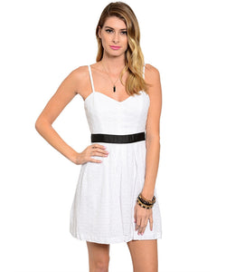Paper Doll Contrast Waist Eyelet Sun Dress White