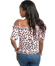 Must Have Womens Pink with Black Polkadot Top