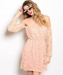 Rachel Kate Off-the-Shoulder Lace Peach Salmon Dress
