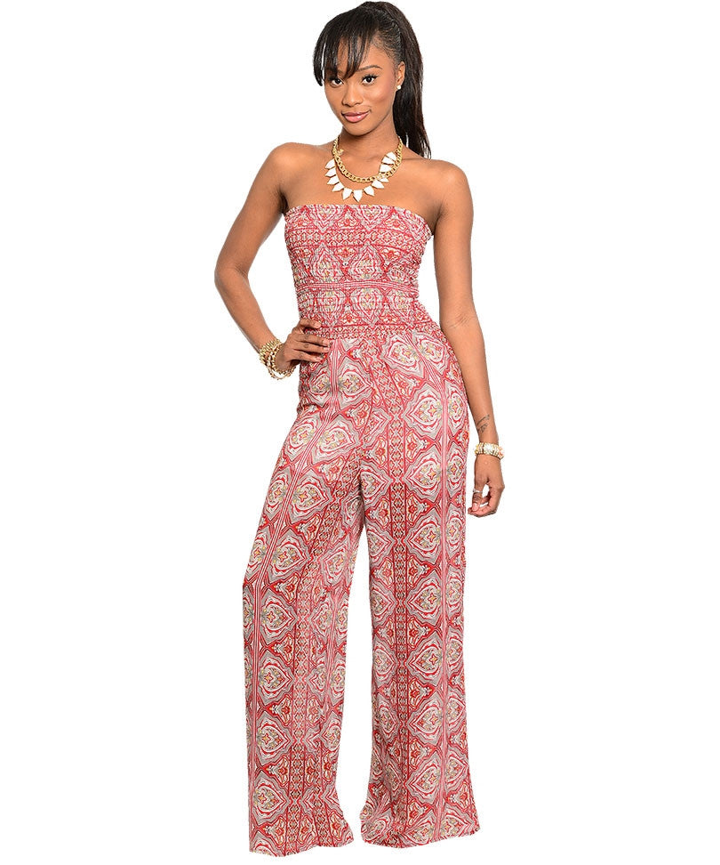 Lac Bleu Womens Rust/Gray Strapless Jumpsuit