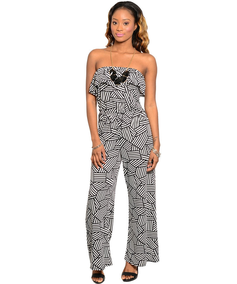 Aggie Womens Black/Ivory Jumpsuit Large