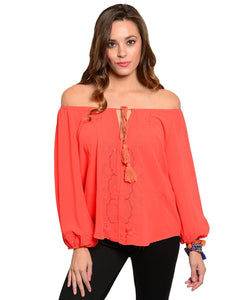 LLove Womens Off-the-Shoulder Blouse Red