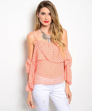 Rachel Kate Womens Chevron Print off-the-Shoulder Top Orange/Ivory Small
