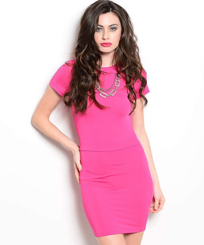BLVD Collection Womens Bodycon Hot Pink Dress