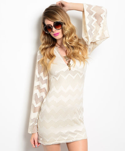 Audrey Boho Theme Sheath Beige Dress Small