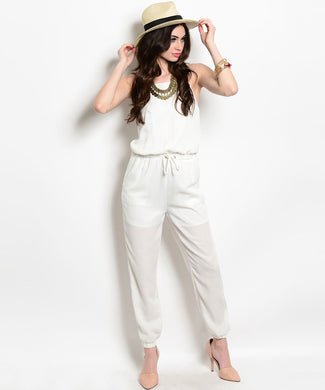 The Hanger Womens Spaghetti Strap White Jumpsuit Small