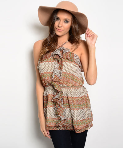 CIEL USA Womens Tribal Print Top