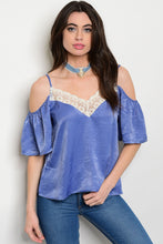 Love J Light Blue Satin Cold Shoulder Top