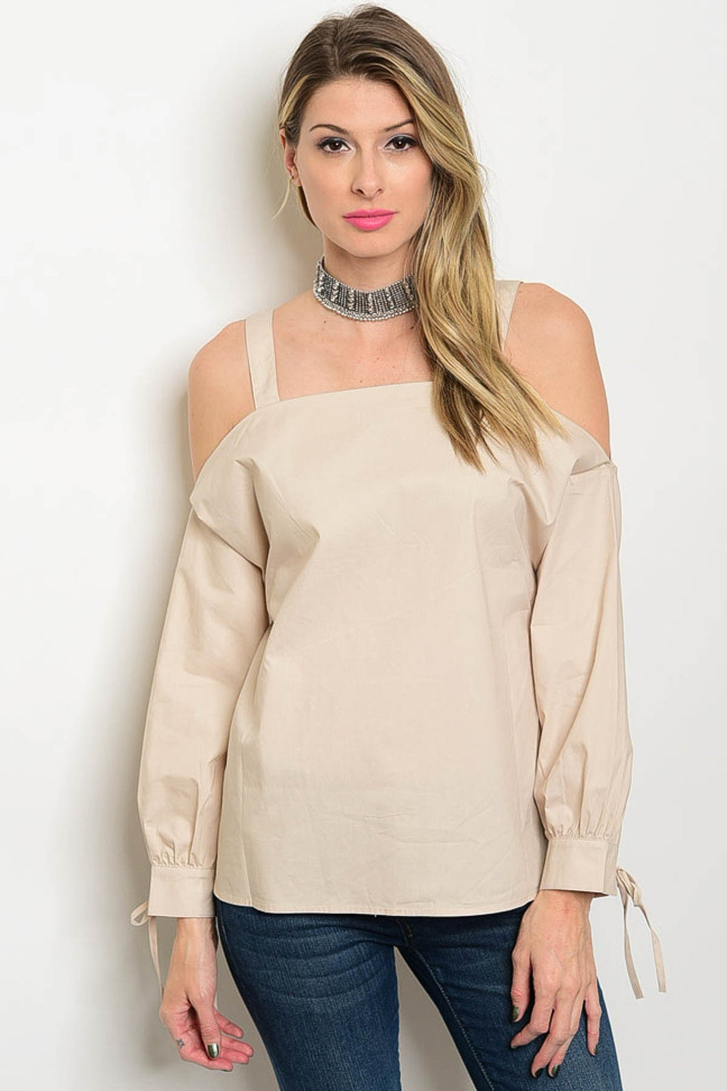 Loveriche Cold Shoulder Taupe Poplin Top