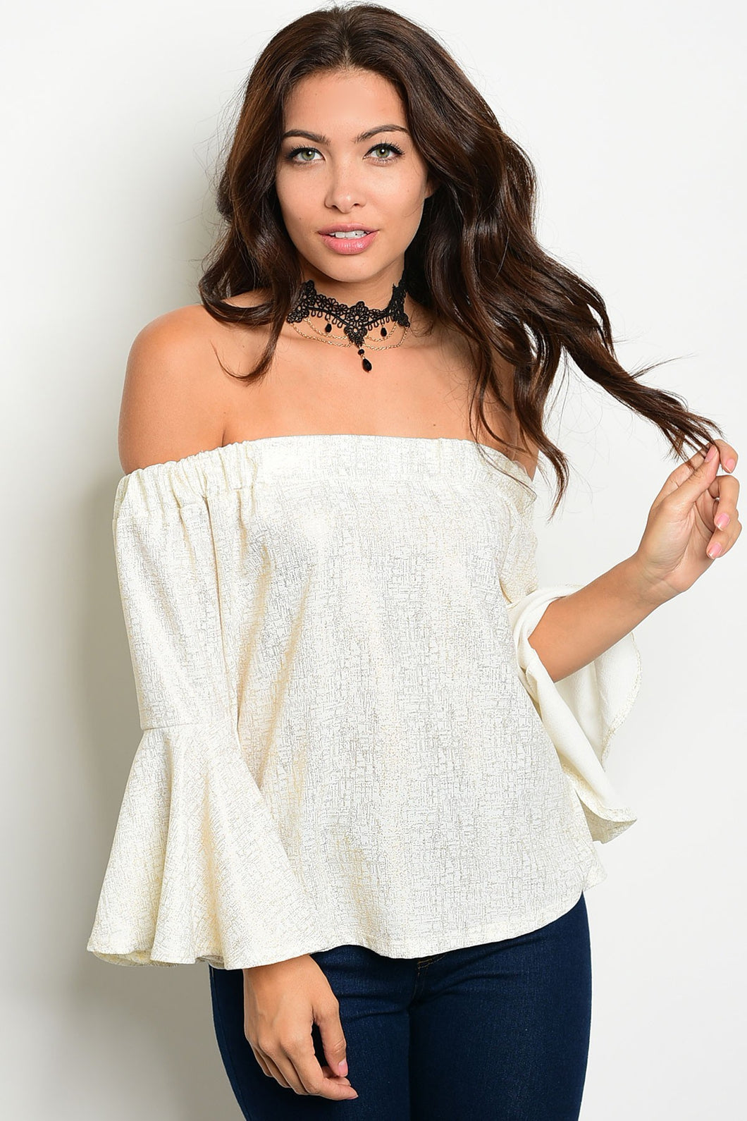 Nylon Apparel White Gold Off Shoulder Top