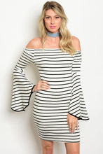Bo Bel Ivory Black Stripe Off-the-Shoulder Dress